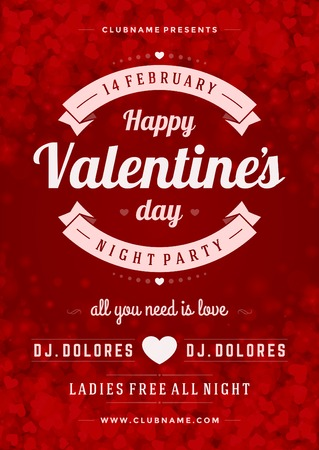 Happy Valentines Day Party Poster Design Template. Typography flyer invitation vector illustration.