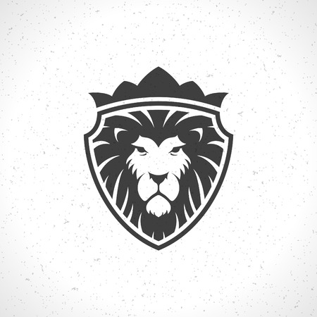 Lion face icon emblem template for business or t-shirt design. Vector Vintage Design Element.