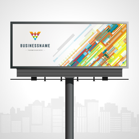 Billboard mock up for icon presentation and abstract icon identity with urban horizon vector background