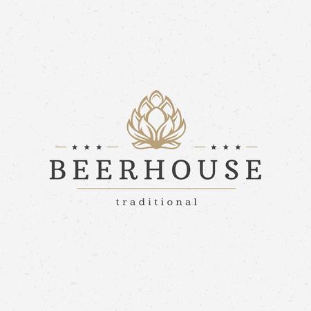 Illustration pour Beer hop   badge design element vector illustration - image libre de droit