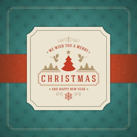 Illustration pour Merry Christmas Greetings Card or Poster Design. Textured paper vector background and retro typography holidays wishes. - image libre de droit