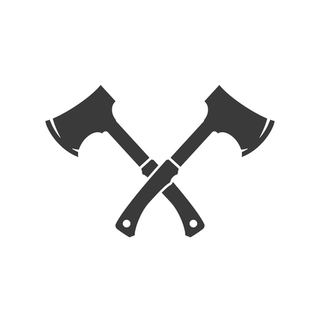 Lumberjack axes crossed FIsolated On White Background Vector object for Labels, Badges,    and other Design.のイラスト素材