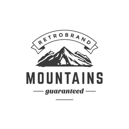 Illustration pour Mountain Vintage Logo Template Emblem. High Rock Silhouette. Label or Badge for Advertising, Adventure  Equipment and other Design. Retro Style Vector Illustration. - image libre de droit