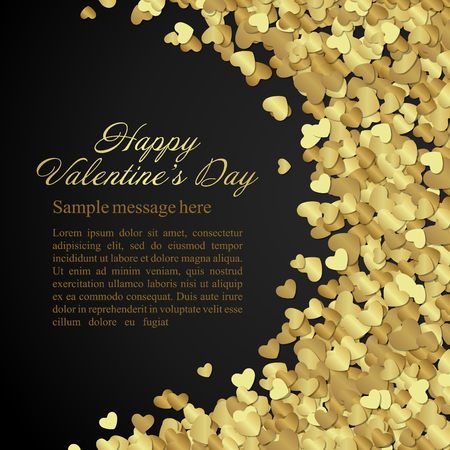 Illustration pour Golden shiny hearts confetti Valentine\'s day or Wedding Greeting Card background. Good for Valentines day invitation, Valentine card, Valentines day background. - image libre de droit