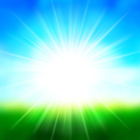 Illustration pour Summer Background Sky and Sun Light with Lens Flare, Grass Field Landscape Vector Illustration. - image libre de droit