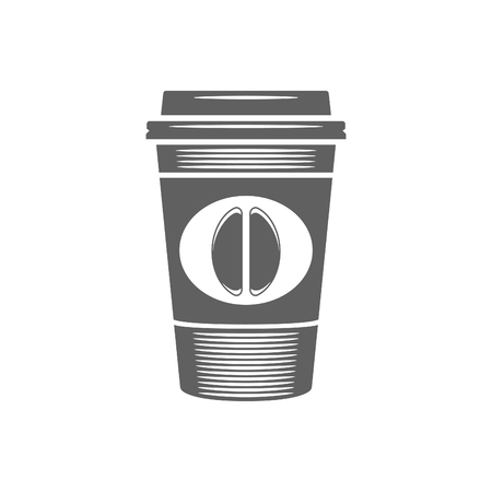 Coffee cup vector illustration. Coffee Cup Silhouette Isolated On White Background. Vector object for Labels, Badges, Logos Design.