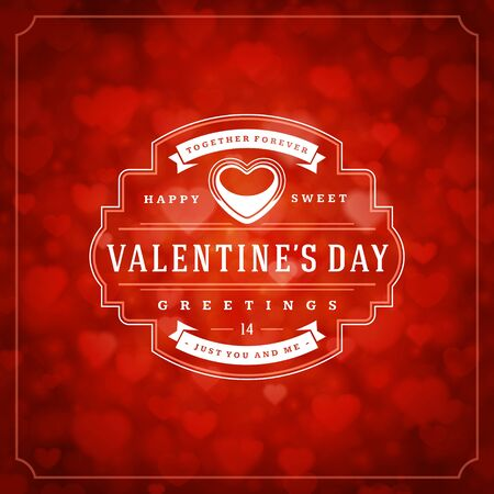 Illustration for Happy valentines day greeting card and bokeh hearts light vintage typographic wish design vector background. Valentine badge for print or website banner design. - Royalty Free Image