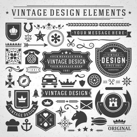 Ilustración de Vintage labels and badges design elements vector with typographic symbols. - Imagen libre de derechos