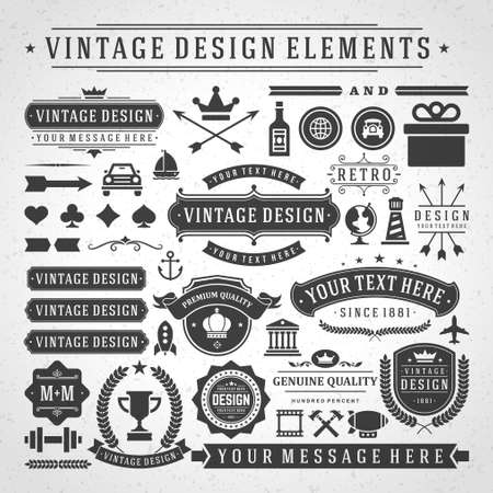 Foto per Vintage labels and badges design elements vector with typographic symbols. - Immagine Royalty Free