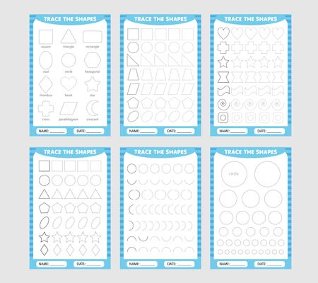 Illustration pour learning for children, drawing tasks. blue set of trace the geometric shapes around the contour. - image libre de droit