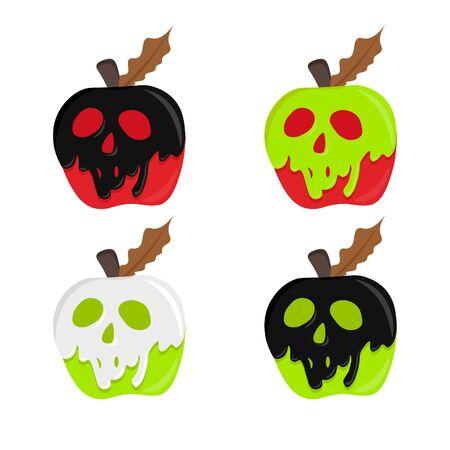 Illustration pour apple with poison. poison apple vector. magic illustration apple. halloween concept. shape skull coated red apple. - image libre de droit