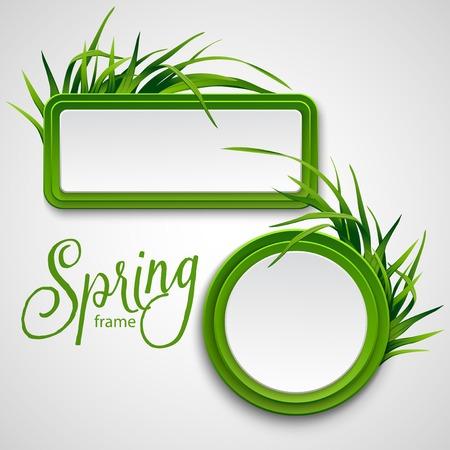 Spring frame with grass. Vector illustration EPS 10
