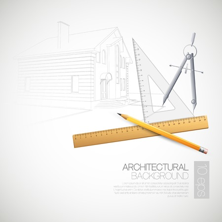 Vector illustration of the architectural drawings and drawing tools