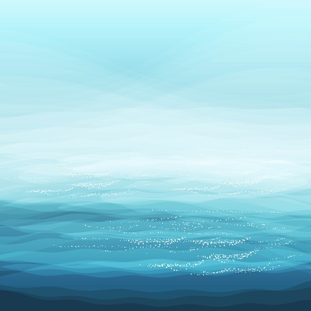 Abstract Design Creativity Background of Blue Sea Waves, Vector Illustration