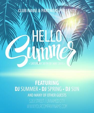 Hello Summer Beach Party Flyer. Vector Design