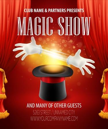 Magic trick performance, circus, show concept.