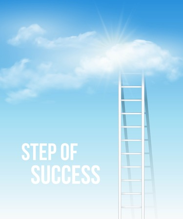 Cloud stair, the way to success in blue sky. Vector illustration