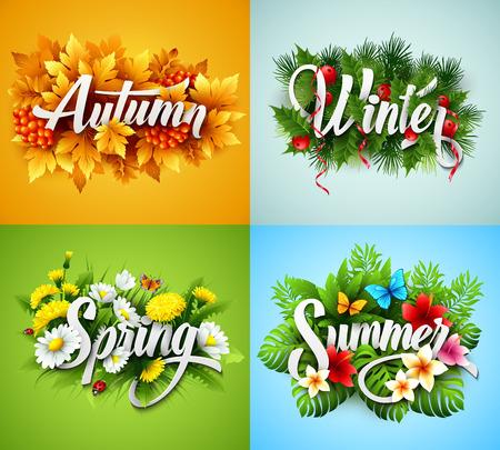 Four Seasons Typographic Banner