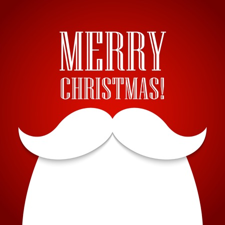 Christmas card with a beard and mustache Santa Claus
