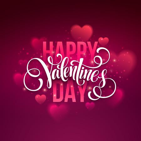 Happy valentines day handwritten text on blurred background.
