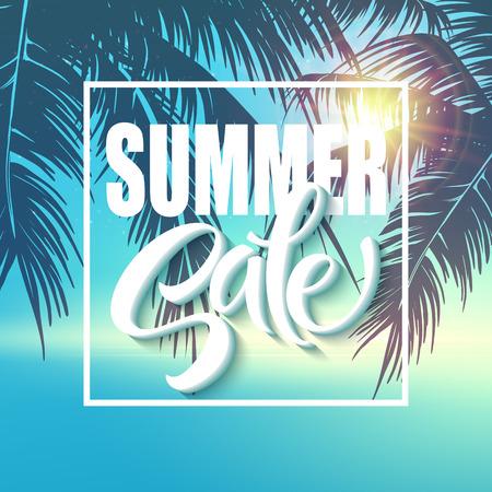 Summer sale lettering on blue background. Vector illustration EPS10
