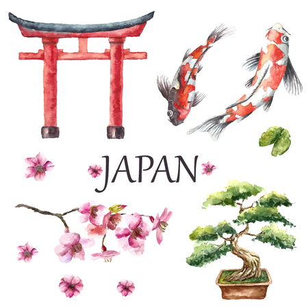 Watercolor Hand Draw Japanese Design Elements Torii Gate Bonsai Tree Koi Fish And Cherry Blossom Branch Vector Illustration Tasmeemme Com