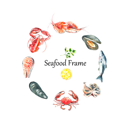 Watercolor frame of seafood.Hand draw isolated illustration on white background:lobster,crab,shrimp,octopus,mussel,salmon with herbs,lemon and peppers.Fresh organic food.のイラスト素材