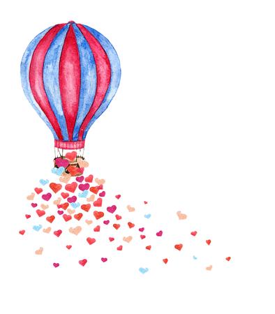 Ilustración de Watercolor bright card with hot air balloon and many hearts. Hand drawn vintage collage illustration with hot air balloon isolated on white background. Vector - Imagen libre de derechos