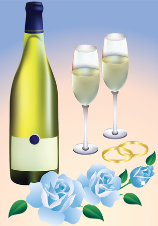 Wedding rings, blue roses, two glasses and a bottle of champagne