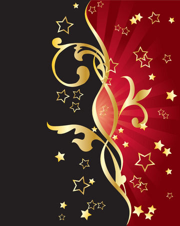 Abstract red-black background with golden ornaments and stars.