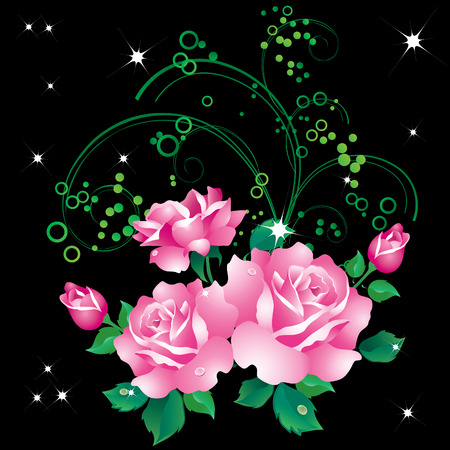 Abstract background with a bouquet of roses and ornaments.