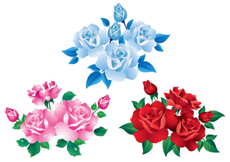 Bouquets with red, pink and blue roses