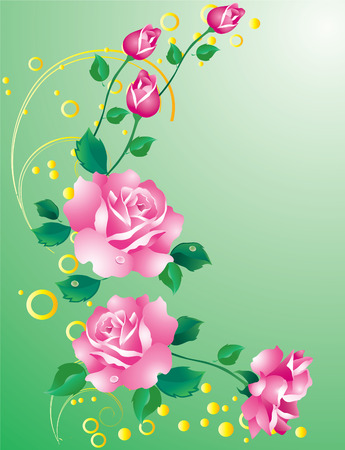 Abstract background with ornaments and pink roses
