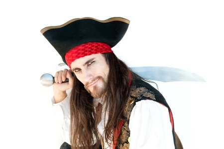 Pirate with sword on white baskground