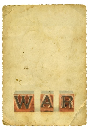 Word war on old paper background