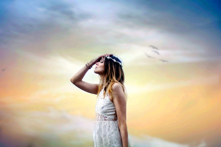 Photo for Young woman praying - Royalty Free Image