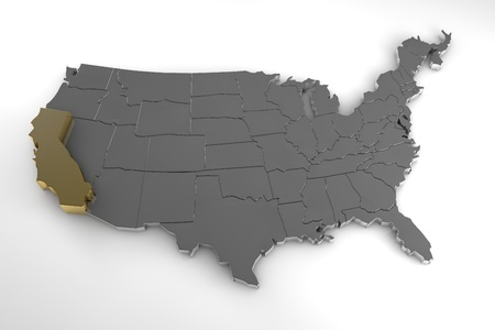 United States of America, 3d metallic map, whith california state highlighted. 3d render