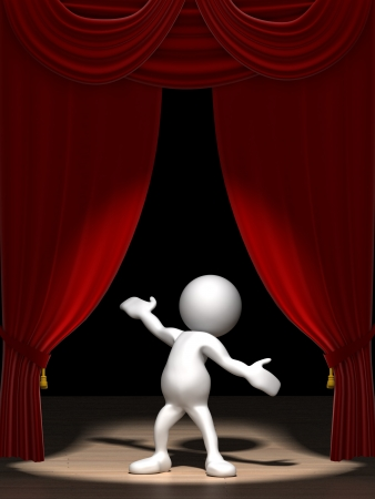 Three dimensional render of a cartoon human figure, standing on a stage in the spotlight with red velvet curtains.