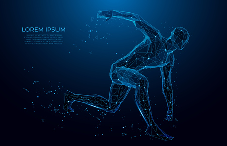 Illustration pour Human body low poly wireframe.  Athlete, Running man from triangles, low poly style. sport concept. Vector polygonal futuristic image. Polygonal wireframe mesh art. - image libre de droit
