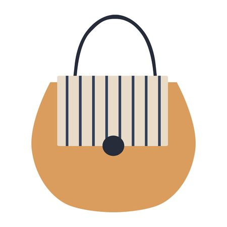 Ilustración de Detailed blue, white, beige female handbag on a white - Imagen libre de derechos