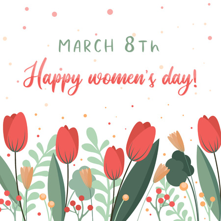 Illustration pour Happy womens day flower card template. Floral background. Can be used as banner - image libre de droit
