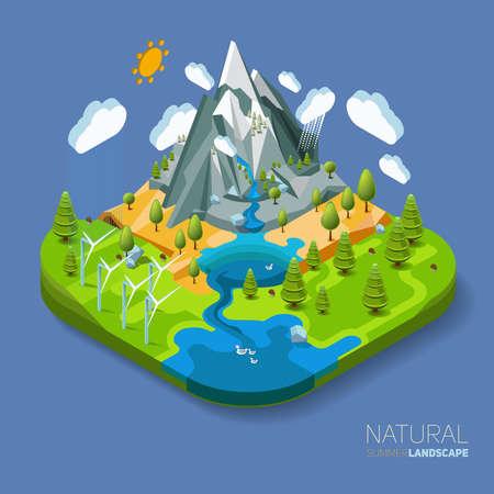 Foto de Environment friendly natural landscape with mountains river and forest around. Vector work flat isometric 3D concept. - Imagen libre de derechos