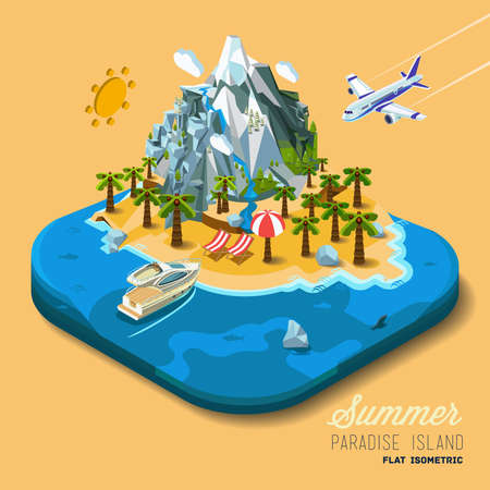 Ilustración de Part of the land to the sea and the mountains, palm trees and a yacht, paradise, summer vacation, sea, ocean, on the beach. Travel, hop on a plane. Vector work flat isometric 3D concept. - Imagen libre de derechos