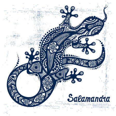 Vector drawing of a lizard or salamander  with ethnic patterns of Aboriginal Australia. On the grange background. Image salamandy as a tattoo.