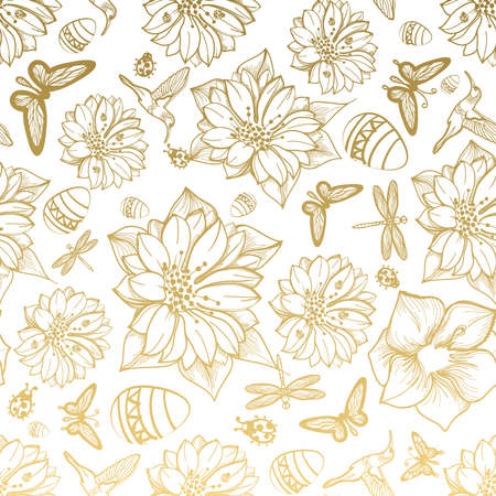 Ilustración de Seamless pattern flowers, egg, butterflies, hummingbirds, gold background. Gold floral, gold elements,flower line,gold thread pattern,gold seamless lace.Spring,summer theme. Packaging gifts Greetings - Imagen libre de derechos