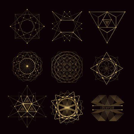 Illustration for Sacred geometry forms, shapes of lines, logo, sign, symbol. - Royalty Free Image