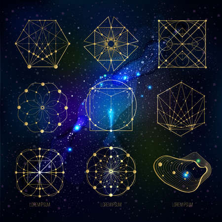 Illustration for Sacred geometry forms on space background, shapes of lines, logo, sign, symbol. Geometric patterns. Geometry symbolic. Vector isolate geometry shapes. - Royalty Free Image