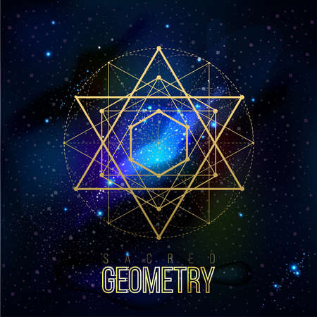 Illustration pour Sacred geometry forms on space background, shapes of lines, logo, sign, symbol. Geometric patterns. Geometry symbolic. Vector isolate geometry shapes. - image libre de droit