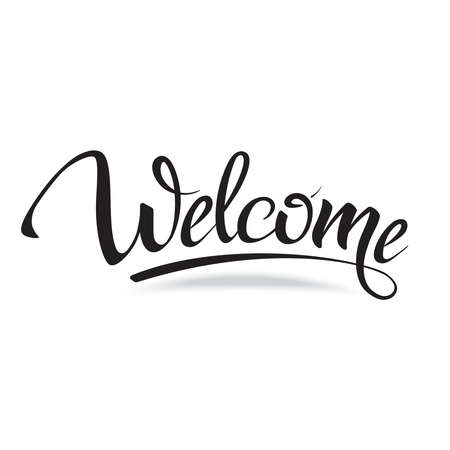 Illustration pour Welcome. Sign, symbol word welcome.Hand lettering, calligraphic font  letters and shade. Isolated on white. - image libre de droit