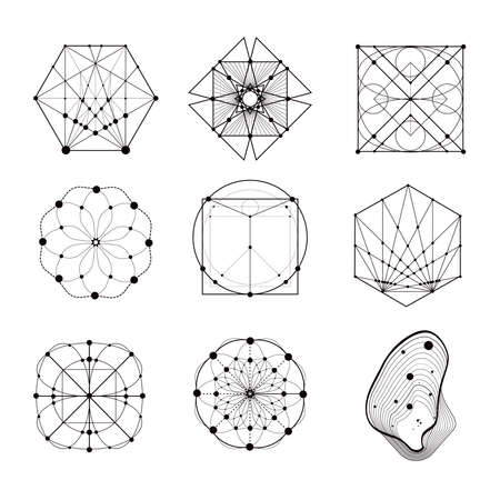 Illustration pour Sacred geometry forms, shapes of lines, logo, sign, symbol. Geometric patterns. Geometry symbolic. - image libre de droit